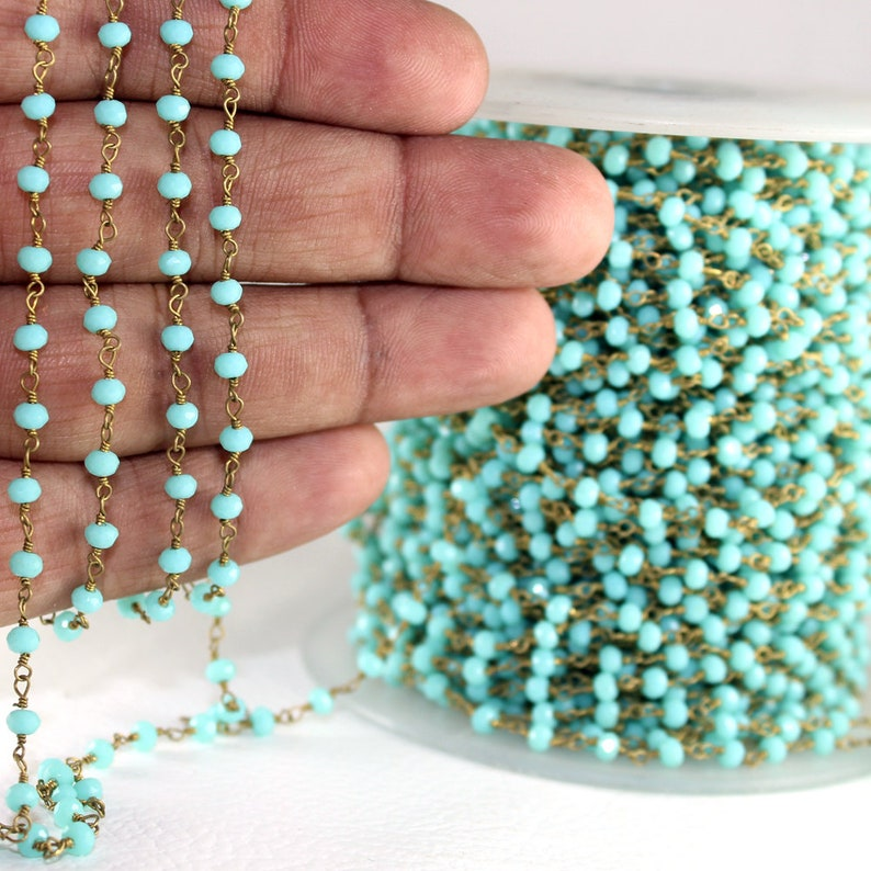 Green Turquoise Hydro Gemstone Gold Plated Beaded Rosary Wire Linked Craft Chain