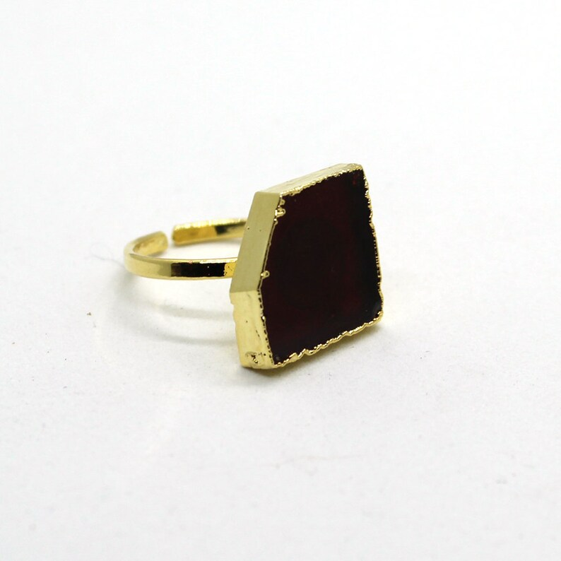 Handmade Garnet Hydro quartz Gemstone ring 18K Gold Plated Adjustable Ring Semi Precious Gemstone Electroplated Ring beautiful looking ring