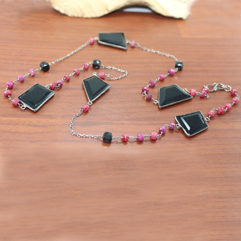 wire wrapped chain natural ruby sapphire black onyx gemstone necklace fashion jewelry black rhodium necklace rosary beads chain necklace