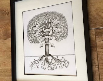 Bespoke personalised family tree hand drawn, mounted and framed