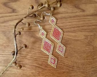 Beaded Earrings Boho Goddess Style Brick Stitch Sunburst