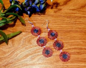 Phish Fishman Donut Earrings Peyote Beaded Earrings Boho Festival Style