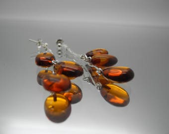 Natural Baltic amber earrings with sterling silver 925 chains