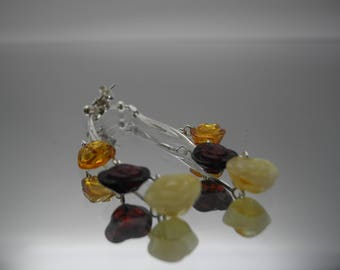"Natural Baltic amber earrings ""Roses"" with sterling silver 925 chains"