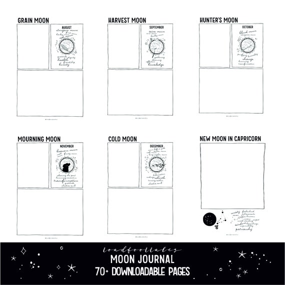 Moon Journal Printable PDF Pages