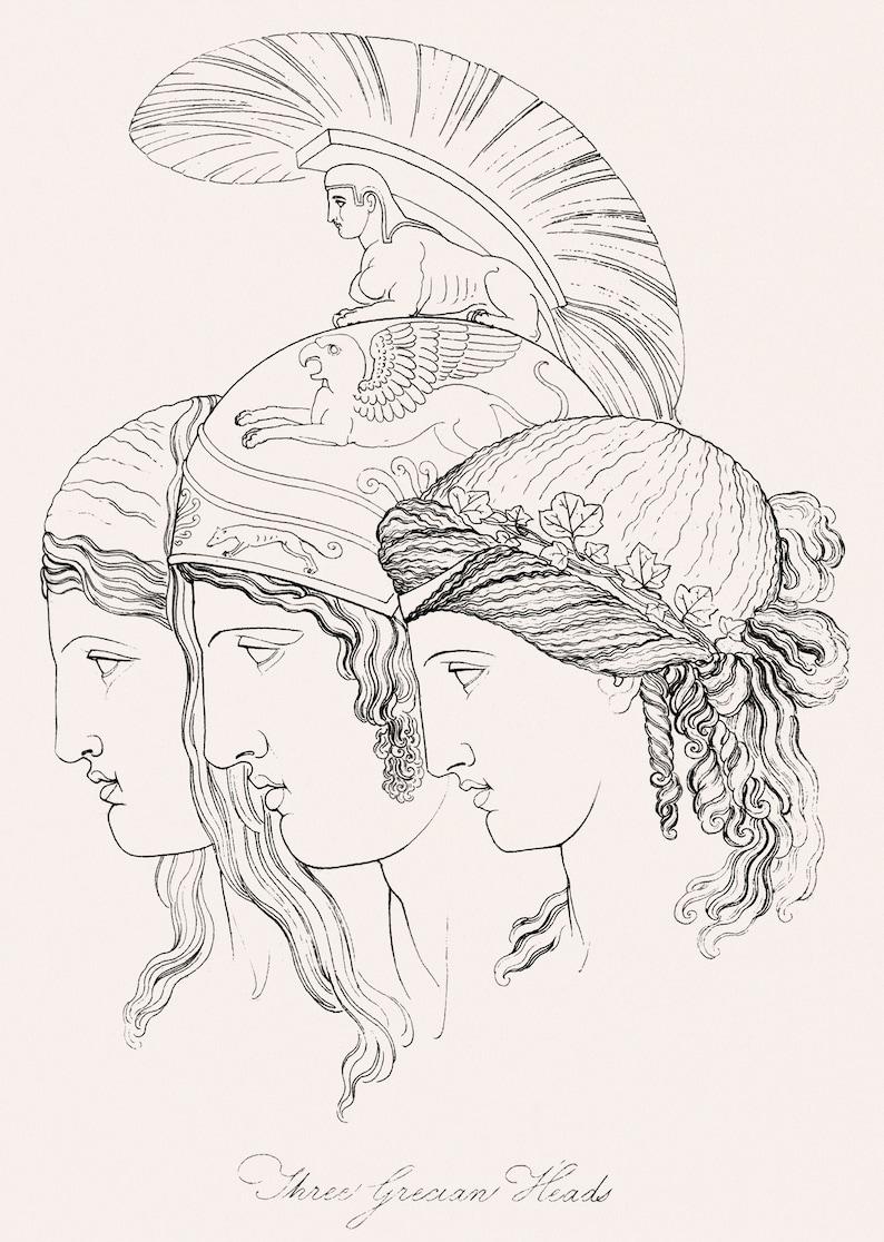 Thomas Baxter 19th Century Art Classical ArtFabulous Art Print size A3 on 225gsm paper Greek Mythology Three Grecian Heads