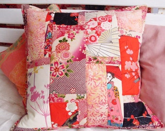 Walk in Kyoto-patchwork quilt pillow cover Pillow