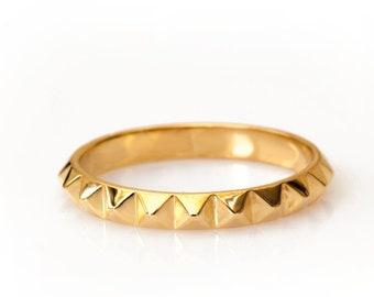 Geometric Wedding Band, Edge Spikes Ring, 14K - 18K Gold Ring, Unique wedding Ring, Gold Wedding Band, Minimal Ring, Spike Ring, Custom Made