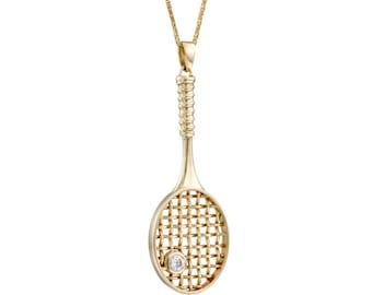 14K Gold diamond Tennis Racket Sport Necklace, racquetball necklace, tennis racquet pendant, tennis jewelry
