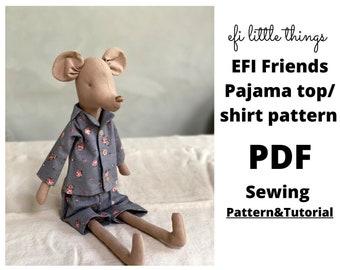 Toys pyjama top/shirt  sewing PDF tutorial and pattern