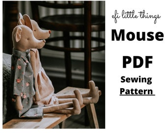 Mouse soft toy stuffed animal doll making sewing PDF pattern ONLY