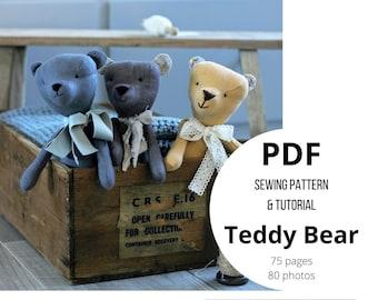 Teddy bear plush soft stuffed toy animal doll rag doll toy making pdf pattern tutorial