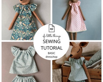 Toy Doll Dress Top sewing PDF tutorial
