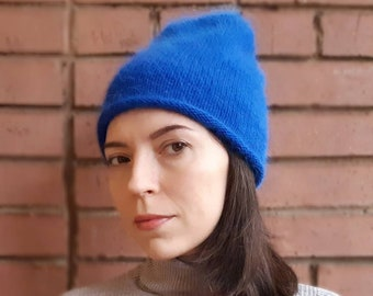 db4163b5d4c6e Women angora beanie knitting blue cozy hat autumn