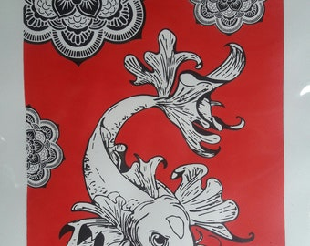 Mandala art hand screened painting