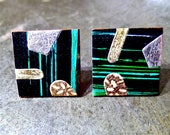 Black and Green Stripe Ear Studs. Bold Colourful Abstract Earrings With Silver And Gold Geometric Shapes. Minimalist Style Ear Studs. Gifts.