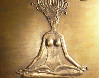 "Buddha, yoga, woman, original artwork, 24 ""x 36"""
