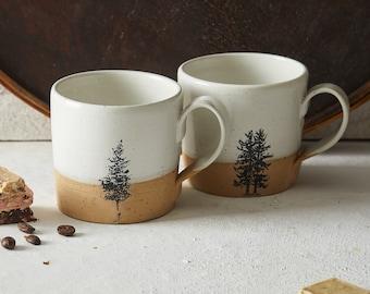 Set of 2 White Ceramic Mugs, Pottery Handmade Coffee Mugs Set with Handle, Huggable Straight Large Tea Mugs, Rustic Modern Look Mugs