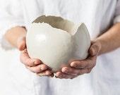 Large White Ceramic Planter for Succulent or Flowers Egg shape Vase