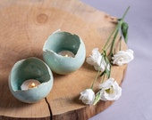 Set of 2 Light Green Ceramic Candle Holders