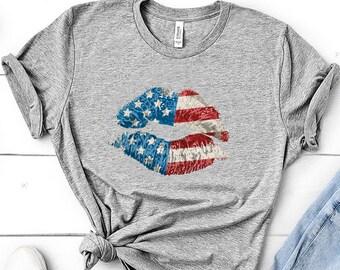 64d0727c74 4th July Shirt 4th Of July Shirt Patriotic Lips Sexy Shirt Usa Kiss Usa  Shirt American Flag Shirt Independence Day Fourth Of July Shirt