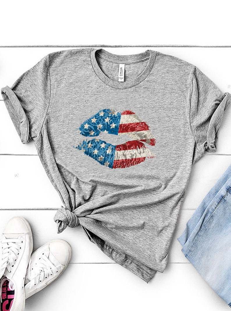 2c458fd305b4f 4th July Shirt 4th Of July Shirt Patriotic Lips Sexy Shirt Usa Kiss Usa  Shirt American Flag Shirt Independence Day Fourth Of July Shirt
