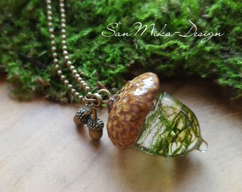 Necklace with acorn pendant * Forrest *