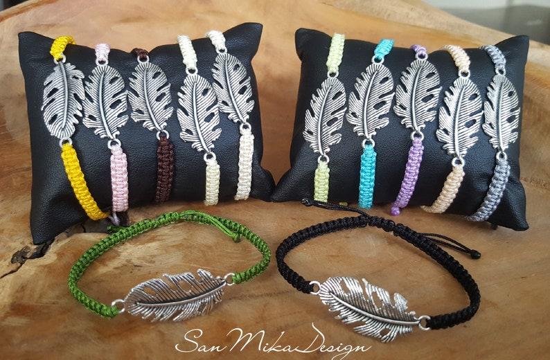 Macrame bracelet with feather  boho  macram\u00e9  friendship bracelet  friendship  gift  indian  knotted