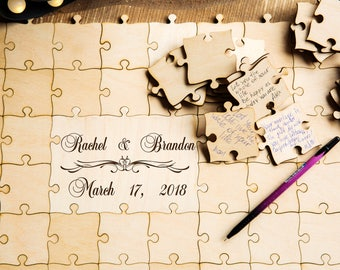 Wedding guest book puzzle wedding guestbook wedding puzzle guest book puzzle rustic guest book puzzle wedding wooden guestbook wooden puzzle