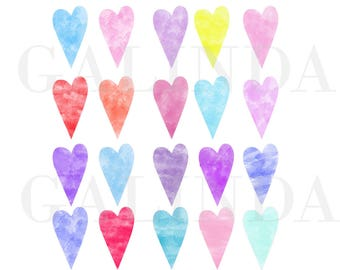 Watercolor Hearts Clip art, Watercolor hearts, Hearts clipart, Heart clip art, Valentines day clipart, Love clipart, Free Commercial Use