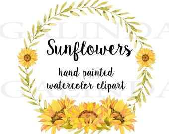 Sunflowers Watercolor clipart, Sunflower Wreath, Boho Flowers clipart, Rustic wreath, Wedding Clipart, Watercolor flowers Clipart, Sunflower