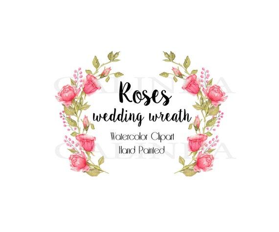 Rosen Kranz Hochzeit Aquarell Kranz Englische Rosen Blumen Blumen Einladungen Grußkarte Vintage Rosarose Romantische Hochzeit