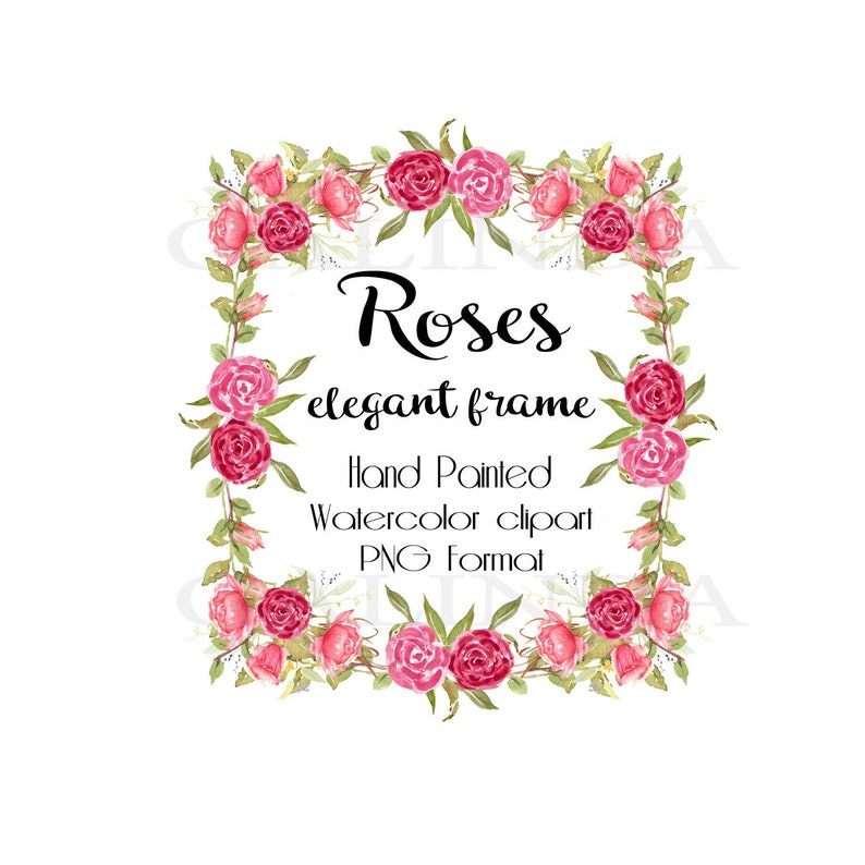 Watercolor Roses Clipart Floral Watercolor Roses Floral Frames Bridal Boho clipart Vintage Roses Wedding Invitation Blush pink Frame Wreath