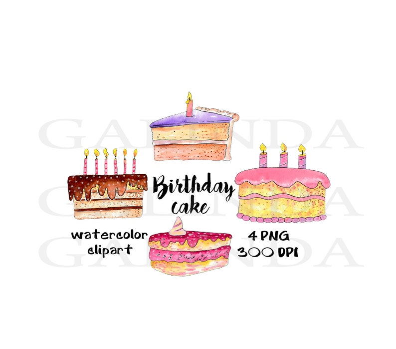 Birthday Cake Clipart Watercolor