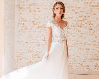 wedding dress with embroidered lace Fashion ballgown dress Bride 2018 Free shipping