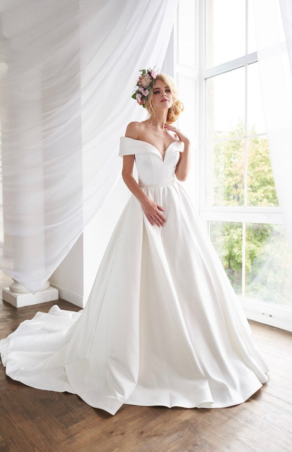 Satin Wedding Dress Royal Bride New Collection Simple Wedding Etsy