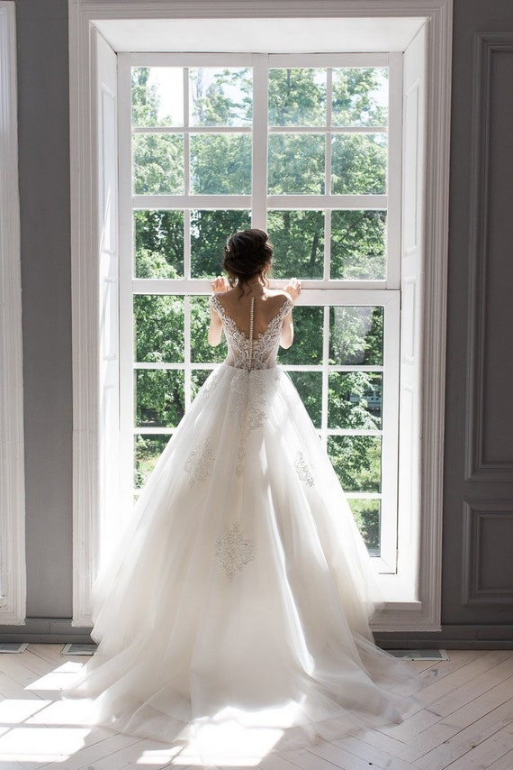 Ballgown Wedding Dress Nude Color Princess Wedding Lace Corset Etsy