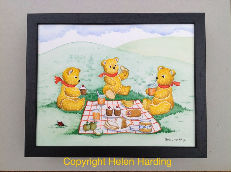 Framed Original Watercolour Of A Teddy Bears' Picnic. image 0