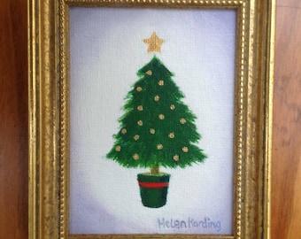 Christmas. Original Acrylic Miniature Painting Of A Christmas Tree