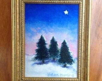 Christmas. Original Acrylic Miniature Painting of Chritmas Star and Fir Trees