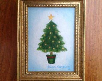 Christmas. Original Miniature Oil Painting of Christmas Tree