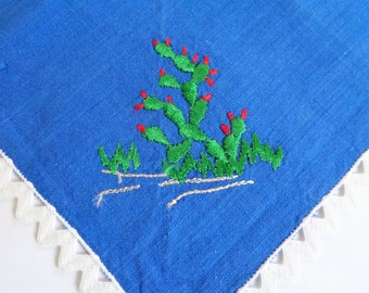 Cactus Embroidered Hankie, Blue Cotton Handkerchief, vintage hankerchief, Succulent Hanky