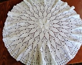 Vintage Round Crochet Tablecloth, White Tablecloth, Lace Crochet Table Cover, Wedding decor, 32 39 39 81cm diameter