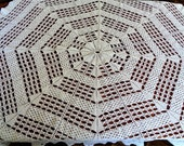White Round Lace Crochet Tablecloth, Large Table Cover, 57 39 39 145cm