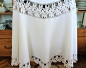 Vintage Lace Crochet Tablecloth, Large Round Tablecloth, White Cotton Table cloth, Wedding Table Decor, 63 39 39 162cm