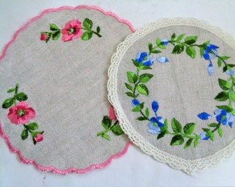 Embroidered Coasters, Ungarian Linen Coasters, Linen Embroidered Round Doilies, Unused