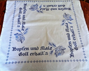 Vintage German Croass Stitch Embroidered Tablecloth, Beer Tost, Blue White Table cover, Beerfest, Oktoberfest