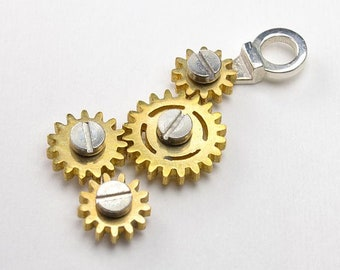 Gear Necklace4 Rotating Steampunk