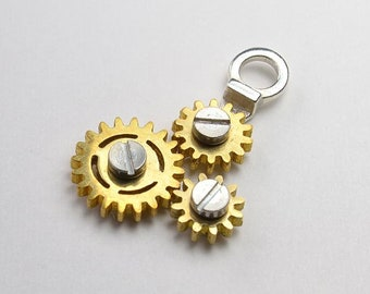 Gear Necklace3 Rotating Steampunk