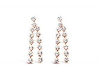 Zena Rose Gold Plated Drop Earrings with Crystal Stones
